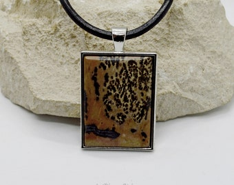 Framed Chohua Jasper necklace mens leather cord, womens choker stainless frame natural jasper necklace, fertility stone necklace leather,