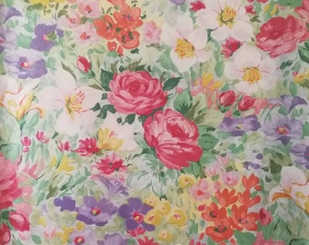Vintage French Floral Fabric, French Fabric, Vintage Fabric, French Florals, Summer Floral Print, Cotton Flower Fabric, Summer garden Fabric