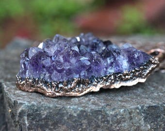 Raw Amethyst Necklace Amethyst Crystal Cluster Necklace Crystal Jewelry Natural Crystal Necklace Healing Crystals and Stones Quartz Cluster