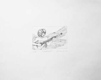 Insectophony II-Etching. Original print, hand-made engraving.