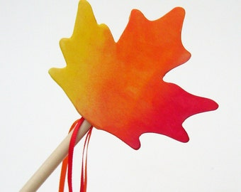 Autumn Wooden Maple Leaf Acorn Wand Toy Eco-friendly  Fall Halloween