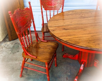 Oak Table And Chairs For Kitchen Sold burnt oak table chair set large distressed farmhouse kitchen table and chairs w leaf oak dining room table red workwithnaturefo
