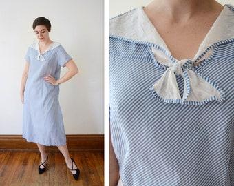 1920s Cotton Voile Blue Striped Day Dress - L