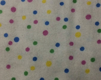 A. E. Nathan Co. Mutli Primary Color Dots on White Flannel Fabric