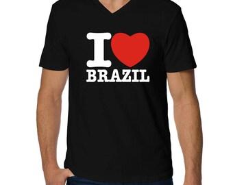 I Love Brazil V-Neck T-Shirt