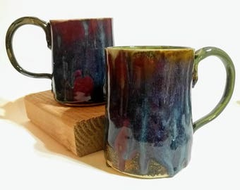 Rustic Galaxy Rainbow Mugs, Barn Red Ceramic Mug, Brown, Blue, Green, Purple Handmade Pottery Coffee Cup, Rainbow Glazed Hot Cocoa Glass