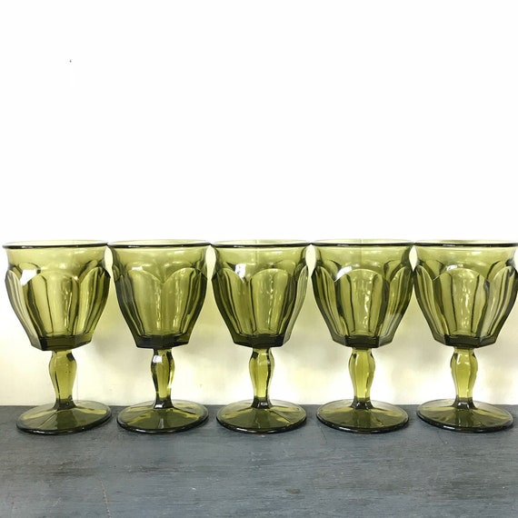 vintage green glasses - Westmoreland Glass - pedestal water goblet - jewel tone barware - wedding table - wedding gift