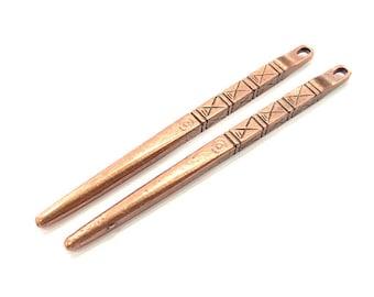 2 Spike Pendant Copper Pendant Antique Copper Pendant Antique Copper Plated Metal (71x4mm) G11528