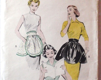 Vintage Butterick Quick and Easy One Yard Hostess Apron Sewing Pattern - Butterick 6340 - One Size