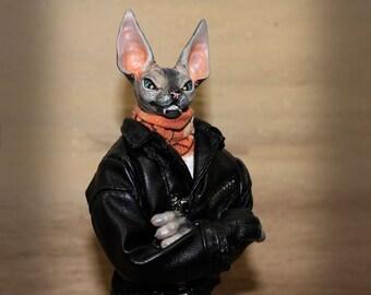 Rocker (byker) Sphinx, handmade work, toys handmade, a cat