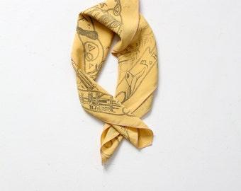 vintage western scarf,  Made in USA yellow cowboy bandana