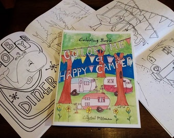 SALE - Coloring Book: Color Me A Happy Camper  - two sided pages