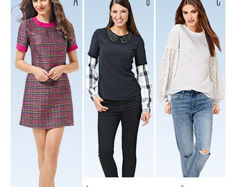 Burda Style 6591 Misses Dress with - Contrasting Bands - Blouse - Two-in-One Sleeves