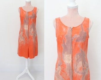 1980s Coral Batik Dress / Betty Barclay 80s Dress / Summer / Size: Small