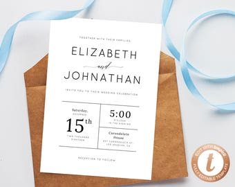 INSTANT DOWNLOAD Wedding invitation template, Printable Wedding Invitation Suite, Modern Simple Wedding Invitation Set, Templett, W02