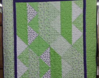 Green and Purple Toddler Quilt