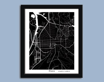 Ithaca map, Ithaca city map art, Ithaca wall art poster, Ithaca decorative map