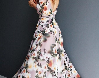 SALE Floral print maxi chiffon dress with scoop back Bridesmaid dress Wedding dress Rehearsal dinner romantic rustic dress