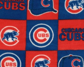 SALE - MLB Chicago Cubs Fleece Fabric By The Yard Baseball Fabric Major League Baseball Sport Fabric Quilting Fabric Block Pattern Licensed