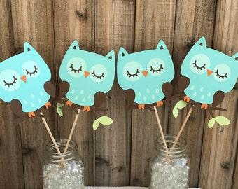 Aqua Owls, set of 4