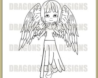INSTANT DOWNLOAD Digi Stamps Digital Stamps Angel Digital Stamp by Dragons Lair Designs - Fantasy, Angels, Wings, Angels Wings