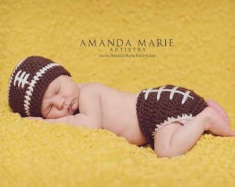 Crochet football diaper cover and beanie set/Football Hat/ Football/ Made to Order