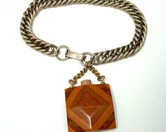 Jahrgang Lagenlook Holz Parfüm-Flasche-Charm-Armband