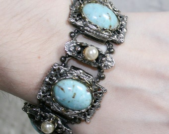 Faux Turquoise and Pearl Link Bracelet