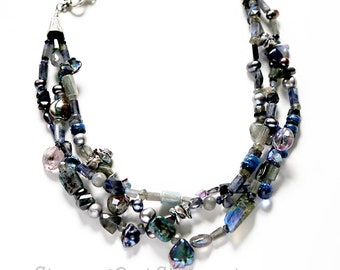Upon Still Waters - Triple-Strand Statement Necklace with blue stones and freshwater pearls