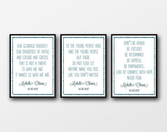 Set of 3 Unframed Michelle Obama Quotes