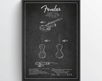 1960 Fender Electric Violin Patent Wall Art Poster, Violin Print, Violin Decor, Home Decor, Gift Idea, MUIN19P