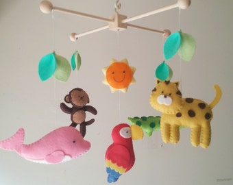 "Baby crib mobile, jungle mobile, animal mobile ""Exploring the Amazon 2"" - Monkey, Alligator, Pink dolphin, Jaguar, scarlet macaw"