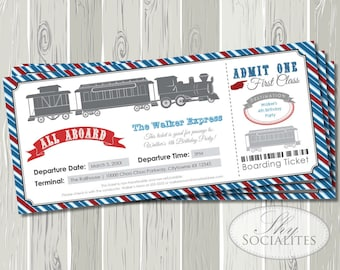 Railroad Train Ticket Invitations | Boarding Pass, Railway, Train Ticket, Red, Blue, Birthday, Baby Shower | Instant Download