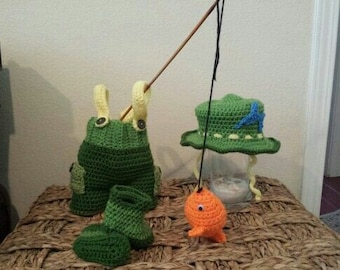 Baby crochet  fishing outfit .