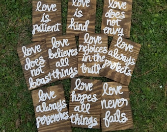 """Wedding Aisle Signs, Set of 10, Corinthians 13 Signs, Love is Patient/Love is kind/Love never fails, Wooden Wedding Ceremony signs 12""""x8"""""""