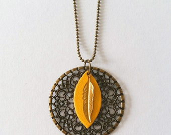Long necklace feather rosette - yellow leather and bronze metal - Agathe and Ana
