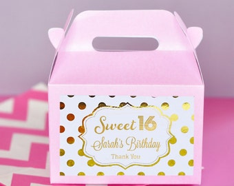Sweet 16 Party Favors Boxes - Sweet 16 Birthday Favors - Sweet Sixteen Party Favors - Pink Sweet 16 Party Ideas (EB2313FY) set of 12