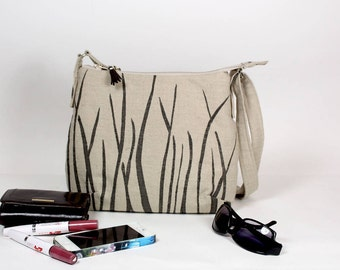 Linen Day Bag with Silk Screened Design, Linen Day Bag, Linen Cross Body Bag, Linen and taupe shoulder bag, Silk screened bag