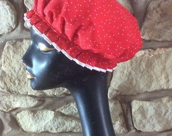 Red Spot Luxury Glamorous Shower Cap