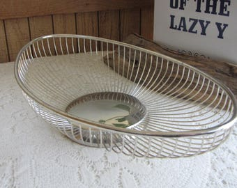 Vintage William Adams Masterpiece Silver Plated Bread Basket Vintage Kitchens and Serving Ware Wire Baskets