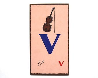 """Vintage Letter """"V""""  Flashcard Wall Plaque in Pink with Violin"""