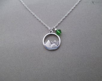Silver Mountain Charm Necklace