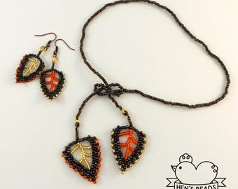 Autumn Leaves Beaded Necklace + Earrings (Free UK Delivery)