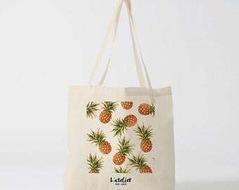 X66Y Tote bag pineapple, cotton tote bag, handbag, laptop bag, tote bag, bag to offer, luggage, bag, summer, bag illustration.