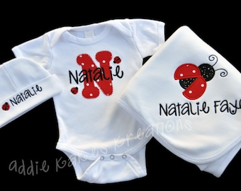 Personalized Ladybug Baby Outfit - Ladybug Baby Girl Outfit - Baby Set - Baby Shower Gift - Ladybug Bodysuit - Blankete - Take Home Outfit