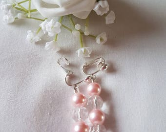 Pretty  Pink and Clear Clip on Drop Beaded Earrings