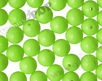 20mm - 10 PACK of Fluorescent Neon Green 20mm Gumball Beads, Chunky Acrylic Jelly Beads, 20mm Chunky Beads, 20mm Beads, 2MM Hole