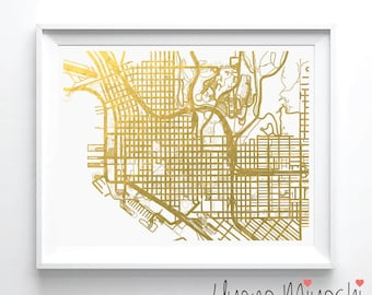 San Diego Downtown Street Map Gold Foil Print, Gold Print, City Street Map Print in Gold, Art Print, San Diego Map Gold Foil Print