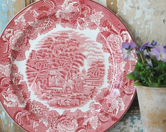 Pink transferware Dinnerplate - Enoch Woods English Scenery - Woods Ware. England Vintage. Pink Cottage Plate