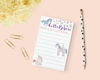 Unicorns Notepad, equestrian stationery, horse notepad, equestrian inspired holiday gift, onehorsethreads
